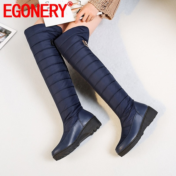 EGONERY женская обувь зима новая мода круглый носок над сапогами на улице удобные плюшевые теплые сапоги на высоком каблуке снегоступы