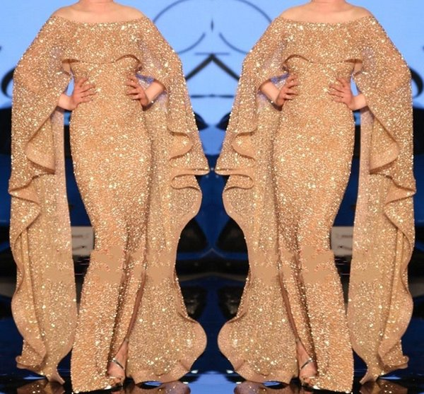 Gold Sequined Arabic Dubai Style Evening Dresses With Wrap Sleeves Mermaid Off Shoulder Ruffles Long Prom Party Gowns BC1872