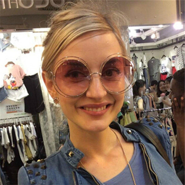 CURTAIN Oversize Round Sunglasses Fashion Women Large Size Big Retro Mirror Sun Glasses Lady Female Vintage Brand Designer UV400