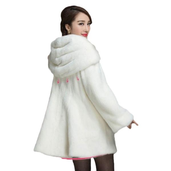 faux fur coat 2017 winter new imitation fur coat imitation water mink hair long new hooded large size female