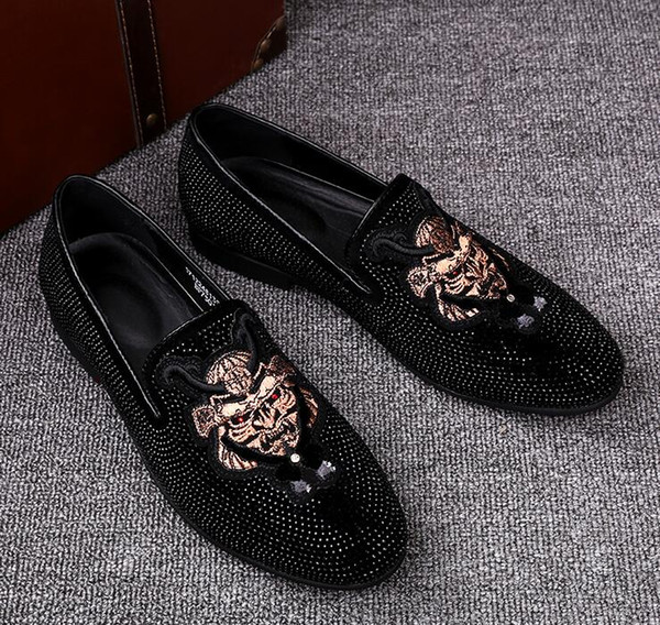 Fashion Grids Pattern Leather Loafers Shining Sequins Formal Dress Shoes Big Size Mens Wedding Party Shoes size:38-44