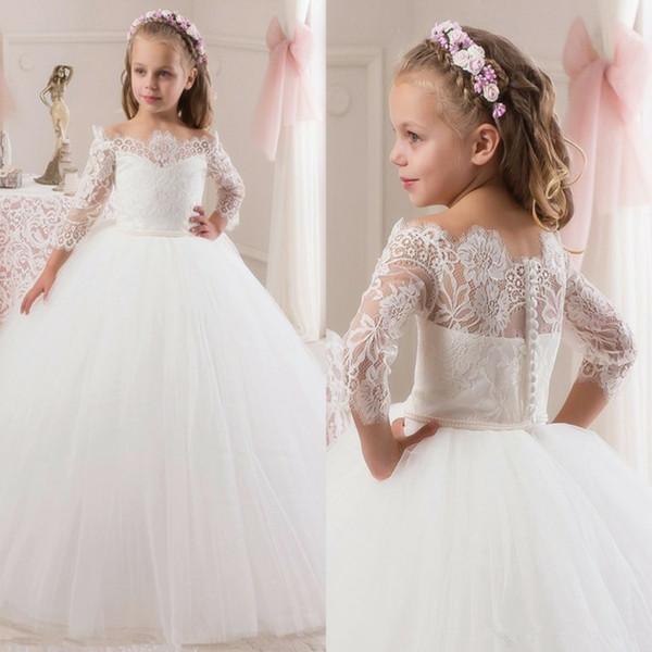 Lace Applique Princesa vestido de Baile Vestidos Da Menina de Flor para o Casamento Longo Tiered Tulle Primeira Comunhão Vestido de Festa de Aniversário