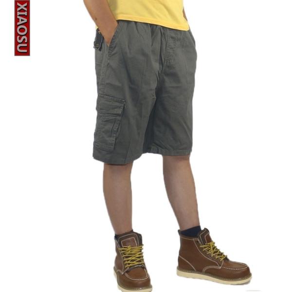 Pantaloncini cargo Xiaosu da uomo larghi in cotone con tasca multipla Vita elastica Pantaloni corti estivi Camouflage Plaid Plus large size 6xl C19041702