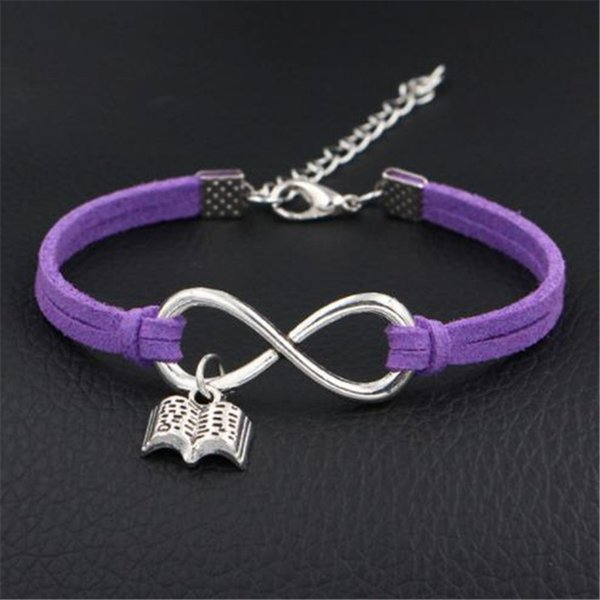 Bohemian Infinity Love Read Books Pendant Handmade Purple Leather Suede Bracelet & Bangles Women Men Personality Jewelry Accessory Wholesale