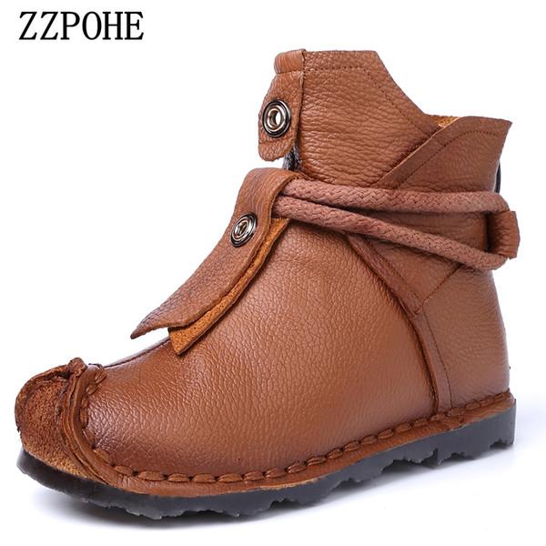 ZZPOHE En Cuir Véritable Femmes Bottes Dame À La Main Doux Bottines Bottes Femmes confortable chaussures de sport Femme style national bottes courtes