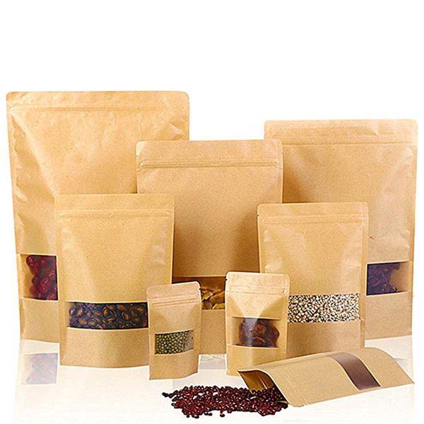 Kraft Ziplock Paper Bag Stand Up Bolsas de sellado reutilizables con ventana transparente y bolsa de almacenamiento de muescas de rasgadura para alimentos secos Nueces de café