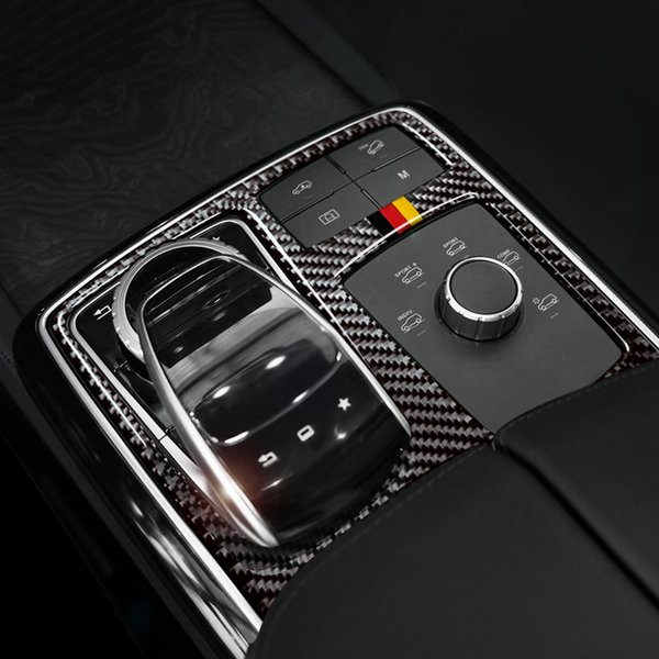 For Mercedes GLE GLS M Class Carbon Fiber Central Control Armrest Box Multimedia Plane Stickers Trim Decal Car Styling