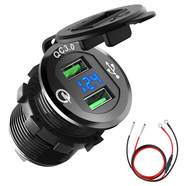 12V/24V Aluminum Waterproof Fast QC3.0 Dual USB Car Charger Socket Power Outlet Adapter with LED Voltmeter for Marine Boat Motorcycle Truck