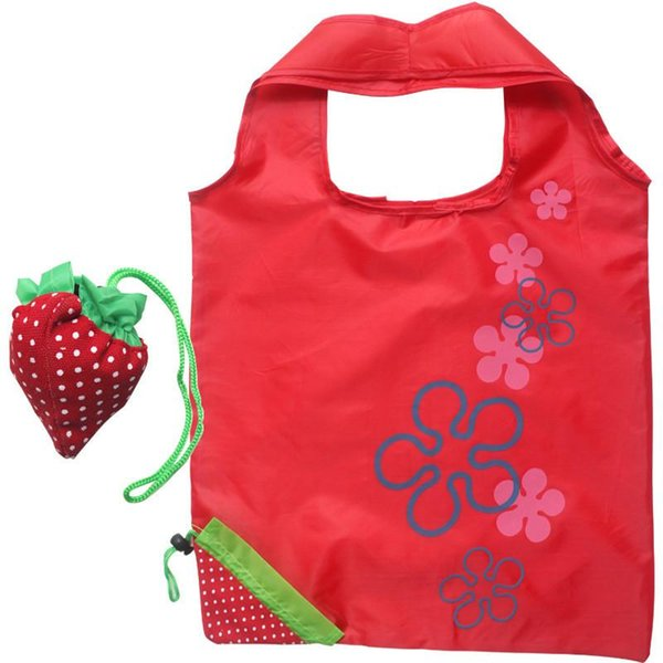 Creative Strawberry Portable Shopping Bags Nylon Reusable Eco-friendly Foldale Tote Bags Storage Pouch Folding Hand Bags DHL Ship