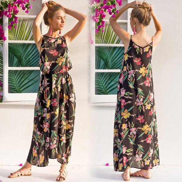 Fashion Women Floral Maxi Dress Sleeveless Side Pocket Beach Bohemian Dress Vintage A-Line Boho Slip Dress With Belt Black Robe
