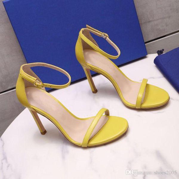 Женские дизайнерские сандалии 2019 Летняя модная дизайнерская женская обувь Высота каблука 9см Натуральная кожа на шпильках Босоножки Размер 35-40