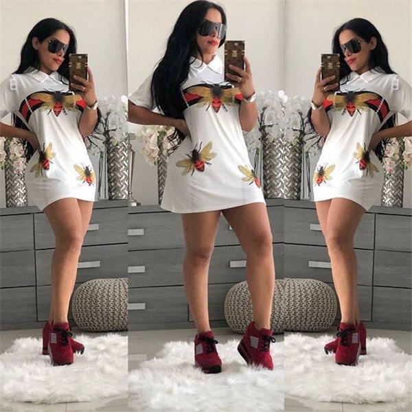 Summer Designer Dress Women Clothing Pullover Lapel Bee Animal Print T shirt A-Line bodycon Skirt Slim Casual Ribbon Dress S-2XL C6505