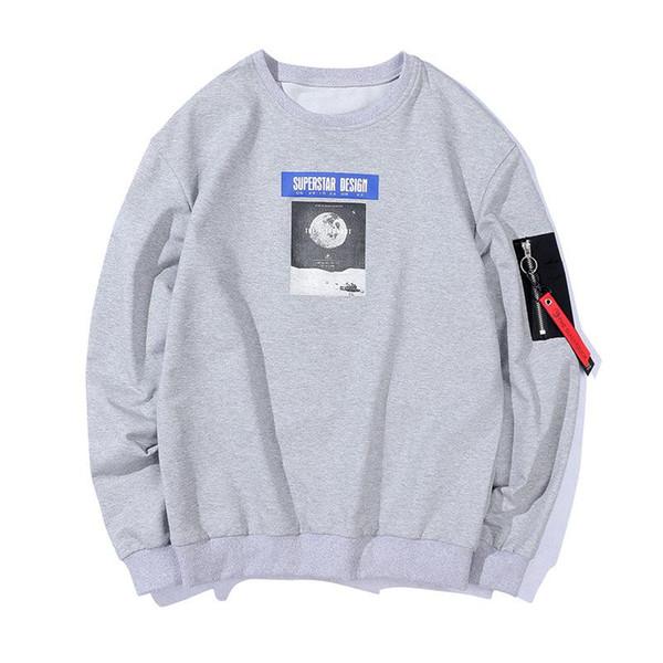 Мужская хлопковая кофта с принтом Письмо Круглый воротник Черный белый серый Свободное движение пальто Свободное время Пуловерная мода Trend Jacket Новый стиль