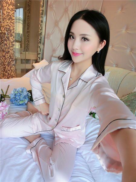 Couples Pajamas Sets Men Women Long Sleeve Sleepwear Homewear Nightshirt Soft Faux Silk Satin