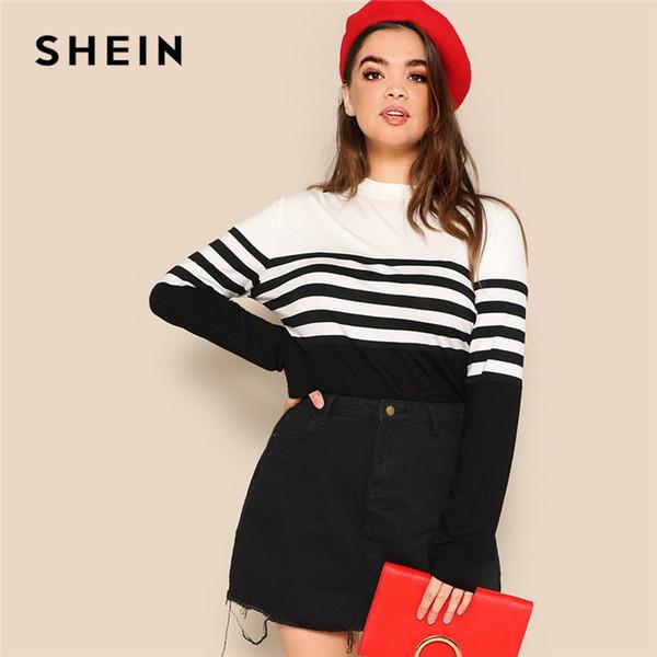 Plus Size Black White Stripe Long Sleeve Casual Tops Tees 2019 Women Spring Two Tone Shirts C19041001