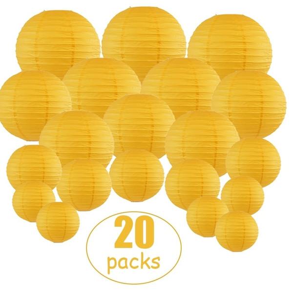 20 pc / insieme rotondo giallo della lanterna di carta assortiti Taglie casa della festa nuziale esterna Hanging Favore Decor