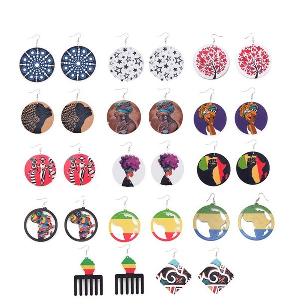 Vintage National Style Women Earring Hollowed Out Design Map Round Wooden Earrings DIY Printed Ladies Jewelry Popular 2sx BB