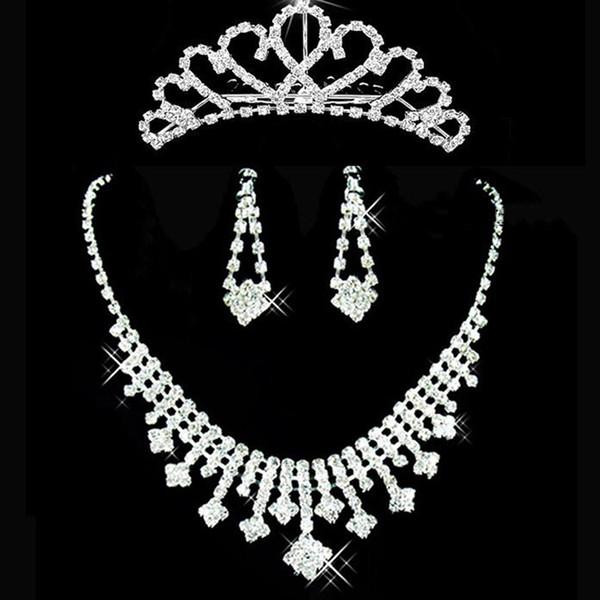 2019 Romantic Wedding Jewel Set Alloy Crystal Cheap 3 Pieces Earrings Rhinestone Wedding Bridal Sets Jewelry