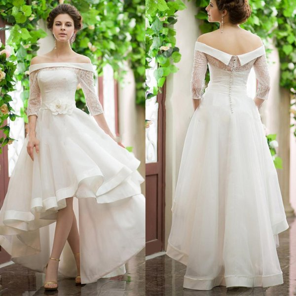 Vestidos de Casamento de alta Low Vintage Mini Curto Vestido De Casamento Bateau Pescoço Fora Do Ombro Meia Manga Flor Belt Curto Vestidos de Noiva Personalizado