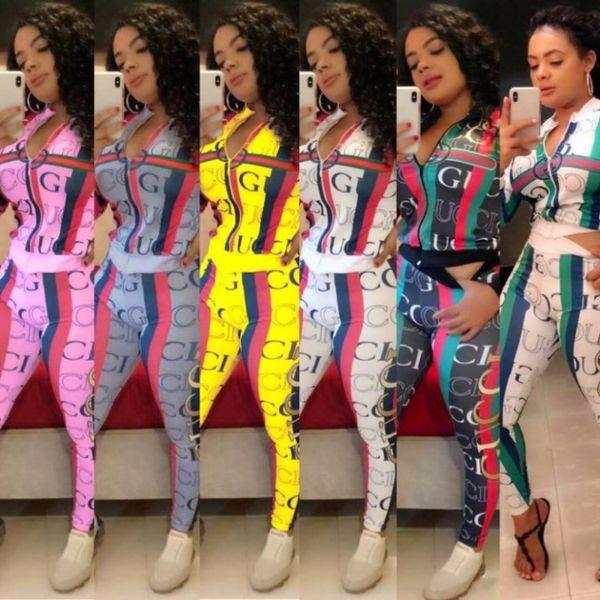 Kadın Tasarımcı Eşofman iki parçalı set kıyafetler uzun kollu ceket tozluk Koşu Spor Spor seksi sıcak satış klw2346 Suits düşmek