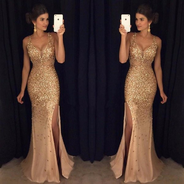 Heavy Hand Latest V Neck Prom Dresses High Split Crystal Beaded Gold Mermaid Evening Dresses Mermaid Long Party Prom Gowns DH788