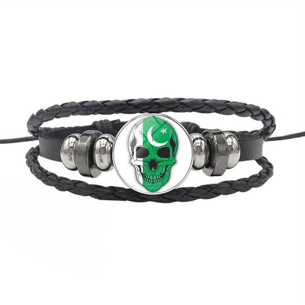 Pakistan National Flag World Time Gem Glass Cabochon Skull Series Button Bracelet Multilayer Genuine Leather Rope Bead Jewelry For Women Men