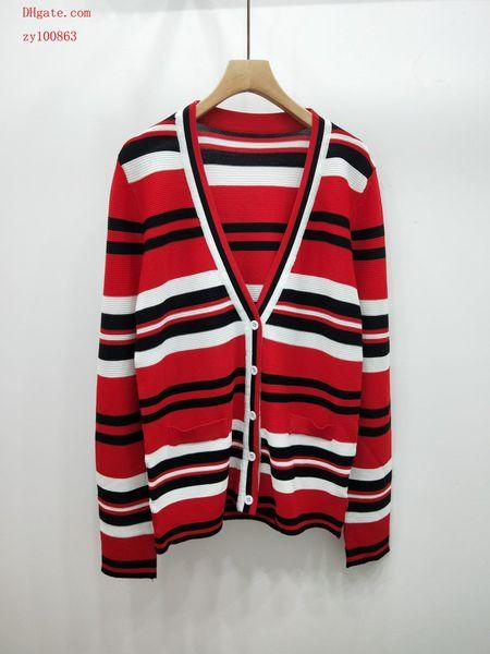 2019 marque femmes en tricot chandail grande taille rayures cardigan en tricot femmes occasionnelles en tricot automne haut à manches longues top qualité femmes vêtements TS-13