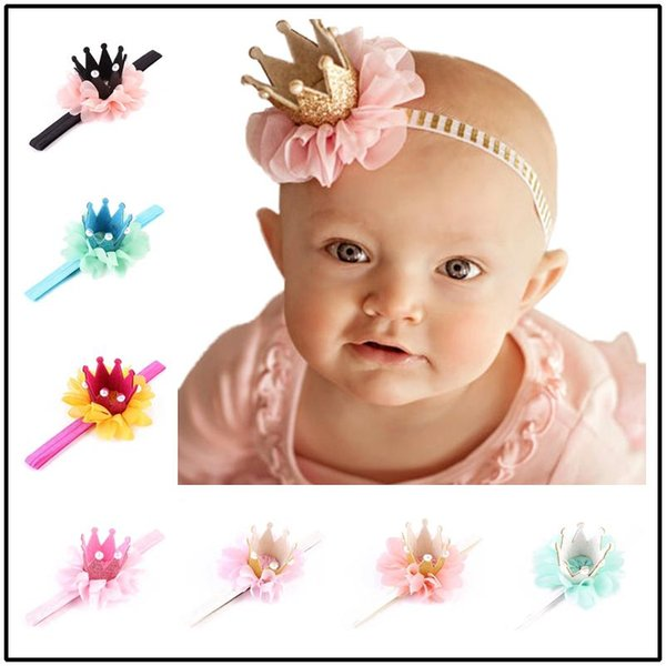 2019 Lovely Hair Accessories 12 Colors Net Yarn Crown Hair Bows Kids Boutique Tiaras Baby Girls Headbands For Birthday Christmas Photos