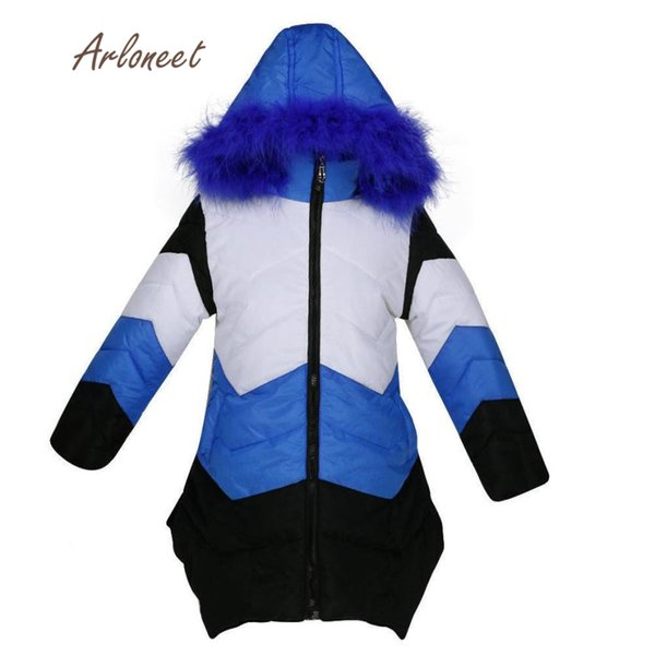2017 Korean Girls Kids Winter Down Medium Coat Jacket Warm Wool Hooded Overcoat