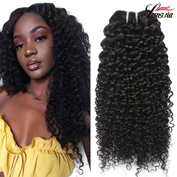 Cabelo Humano Encaracolado peruano Tece 100% onda profunda virgem feixes de cabelo cor natural Não Transformados 8A Jerry Brasileiro Kinky Curls Extensões de Cabelo