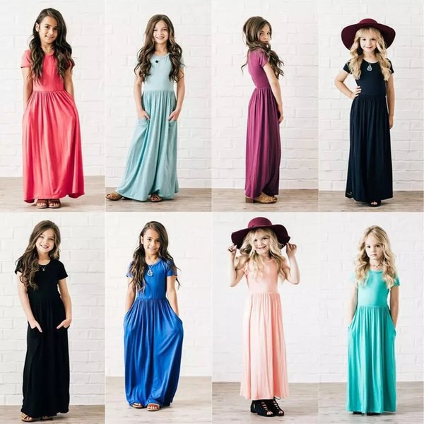 Spring Summer Girls Dresses Casual Pocket Maxi Skirt Fashion Kids Clothing Boutique Baby Clothes Mix Color