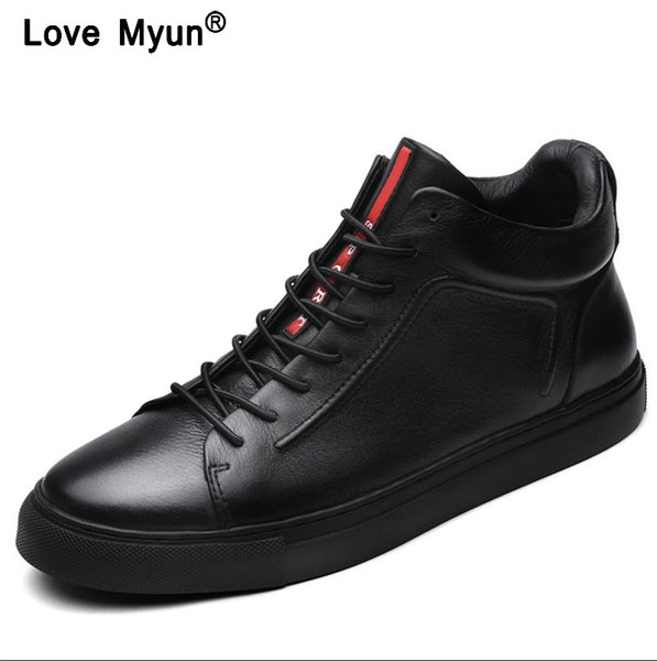 Genuine Leather Shoes Men Brand Footwear Non-slip Thick Sole Fashion Men's Casual Shoes Male High Quality Cowhide Loafershjm89
