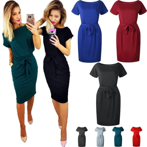 Rundhals Kurzarm Kleid Krawatte Taille Verband Kleid Röcke Frauen Party Mid Kleid Mode Kleidung Rot Schwarz Drop Ship