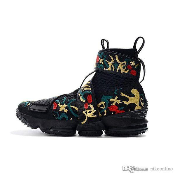 Kith X Lebron 15 XV chaussures de basketball haut de gamme style de vie pas cher Kings Cloak Black Floral baskets bottes