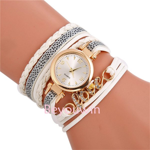 100pcs/lot fashion wrap around leather watch for women love pendant crystal bracelet leather watch for girl lady wholesale