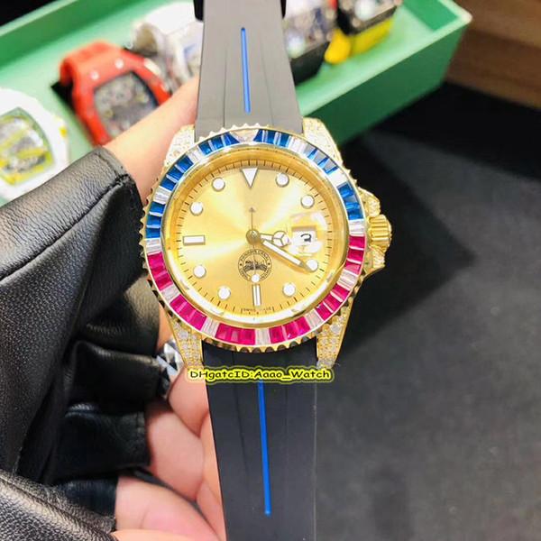 7 Стиль Высокое Качество 116695SATS Желтый Циферблат Gemstone 18 К Золото Case Япония Miyota Автоматические Мужские Часы Черный Резиновый Ремешок Спортивные Часы