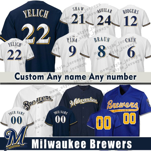 0c324f8c1 Custom Milwaukee Men Brewers 22 Christian Yelich 19 Robin Yount 12 Aaron  Rodgers 3 Orlando Arcia