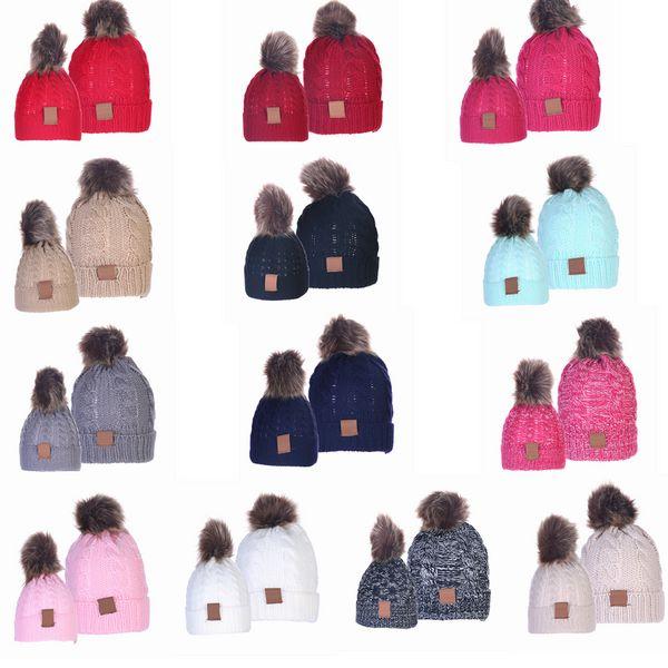 top popular 13style Parent-child Knit Cap Beanies Baby Moms Winter Knitted Hats Warm Crochet Skulls Caps Outdoor Pom Pom Beanie Hats GGA3060-1 2021