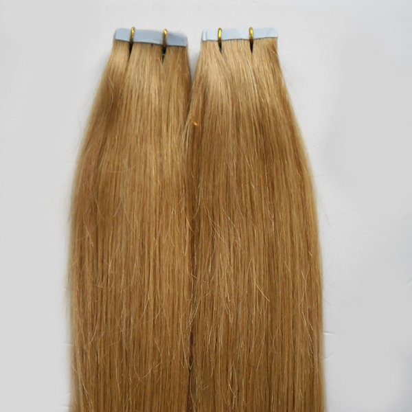 Tape In Human Hair Extensions 40pcs Double Drawn Remy Hair Glue on Hair Extensions Seamless Tape ins