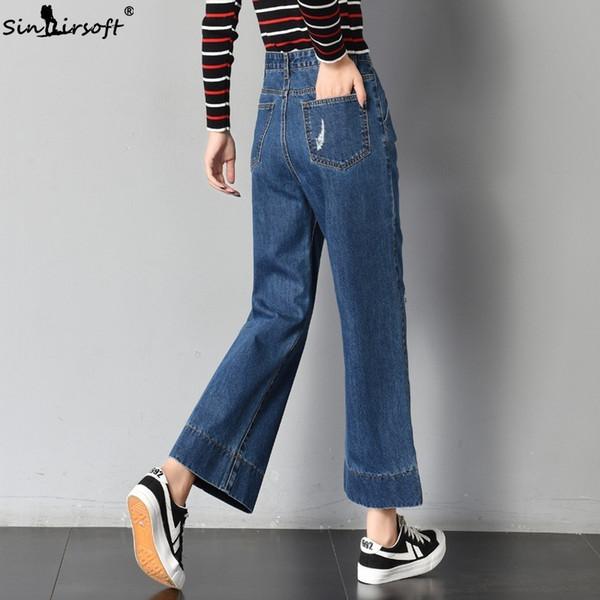 Loose Wide Leg Pants Women's Long Pants Summer Denim Blue Jeans Trousers Vintage Casual Ankle-length Straight Ladies