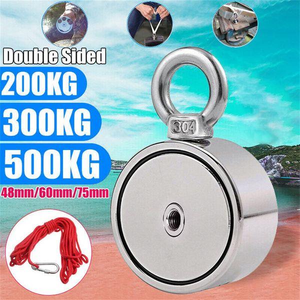 200/300 / puissant double face 500KG aimant néodyme métal détecteur de pêche Kit 10M Strong corde 19AUG30 aimant puissant