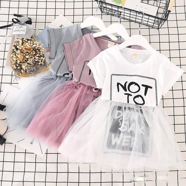 Korean design baby girls mesh skirts Letters printed cute girl tutu dress white grey pink children summer clothes