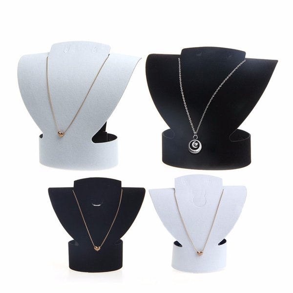 JAVRICK Velvet & Faux leather Folding VJewelry Necklace Bust Earring Display Holder Stand Rack Show Case Hot New