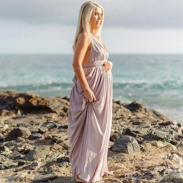 Sexy Halter Neckline Pregnant Evening Dress Draped Chiffon A-line Open Back Purple Color Floor Length Long Evening Dress For Pregnancy