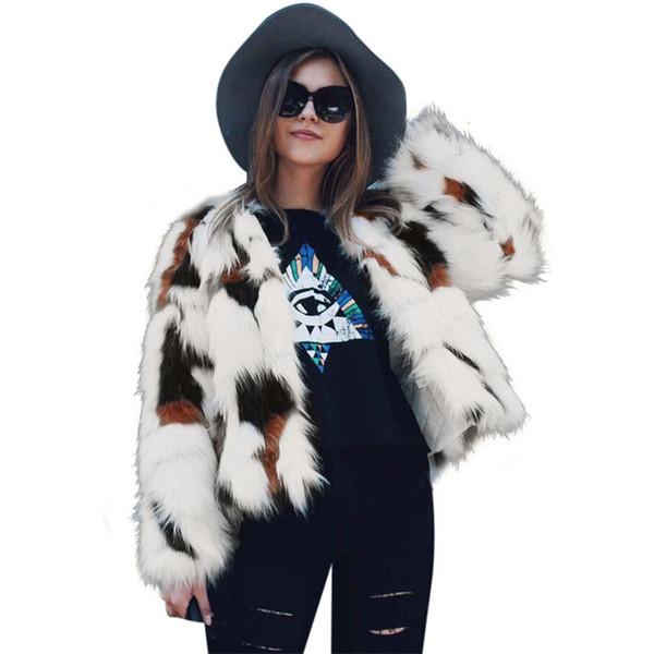 2018 Fashion Women Faux Fur Coat Winter Thick Warm Fluffy Fur Jacket Elegant Female Long Sleeve Overcoat Hairy Coats Outwear