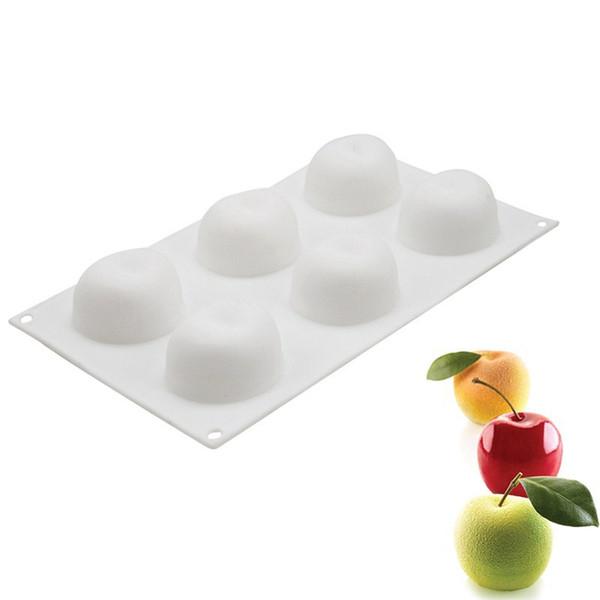 Weiß 6-Cavity Silikon Frucht Apple Blume Form Backform 3D Antihaft Donut Form Sicher Backblech Maker für Kuchen Dessert Backform