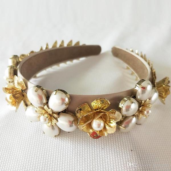 Baroque Luxury Rhinestone Crystal Headband For Women Bridal Gold Leaf Hair Accessories Jewelry Runway Retro Headwear
