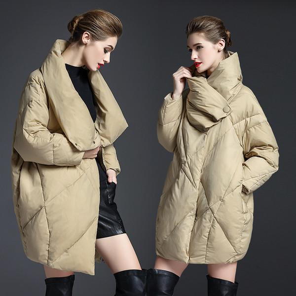 YVYVLOLO 겨울 자켓 여성 2019 유럽 디자인 느슨한 파카 여성 다운 재킷 코쿤 형 겨울 따뜻한 코트 여성 의류 T191030