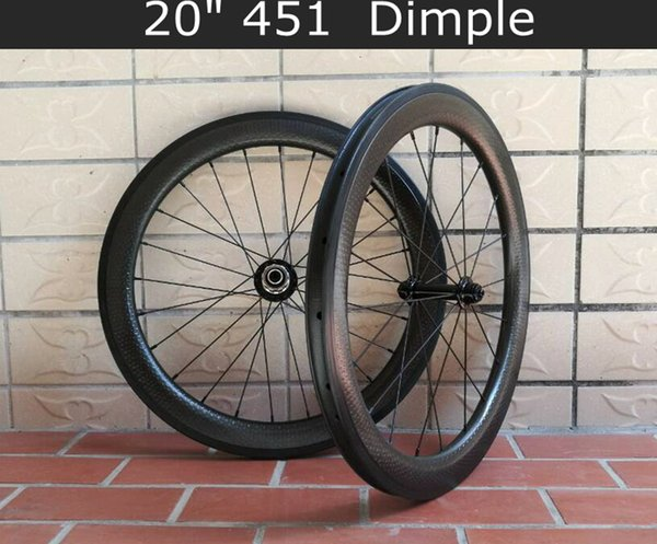 "20inch 451 carbon wheelset dimple rims 20"" carbon wheels road bike wheel PILLAR round spokes"