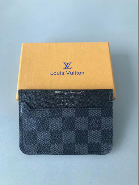 Hot Selling Classic Women Credit Card Package Wallet Purse Men Business Card Holder Leather with Box
